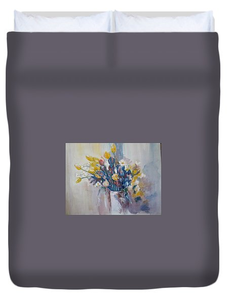 Tulips Flowers Duvet Cover by Khalid Saeed