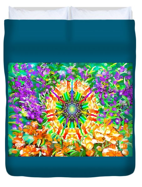 Duvet Cover featuring the painting Flowers Mandala by Hidden Mountain