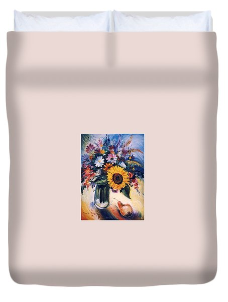 Duvet Cover featuring the painting Flowers by Mikhail Zarovny