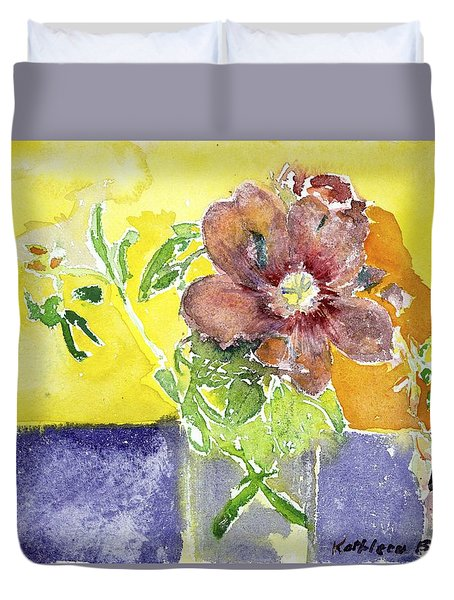 Flowers On A Blue Table Duvet Cover