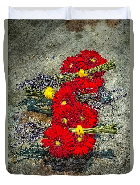Duvet Cover featuring the photograph Flowers On Rocks by Nick Zelinsky
