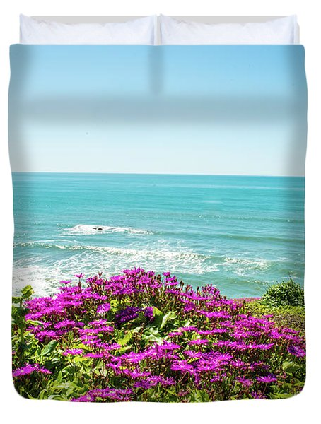 Flowers On The Cliff Duvet Cover