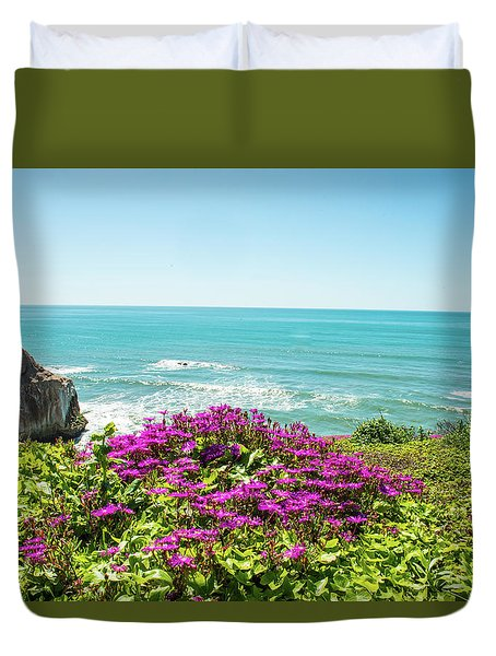 Flowers On The Cliff Duvet Cover