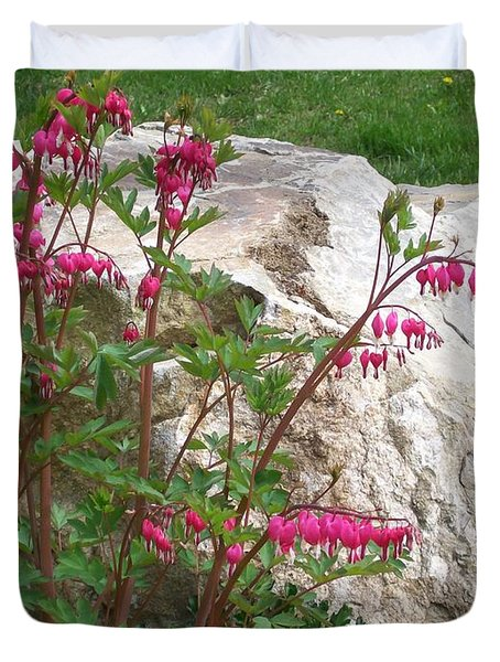 Duvet Cover featuring the digital art Flowers On The Rocks by Barbara S Nickerson