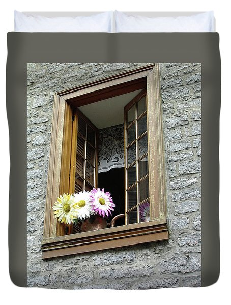 Duvet Cover featuring the photograph Flowers On The Sill by John Schneider