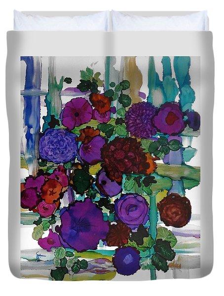 Flowers On Trellis Duvet Cover by Alika Kumar