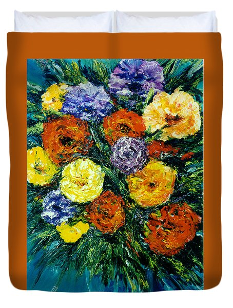 Flowers Painting #191 Duvet Cover by Donald k Hall