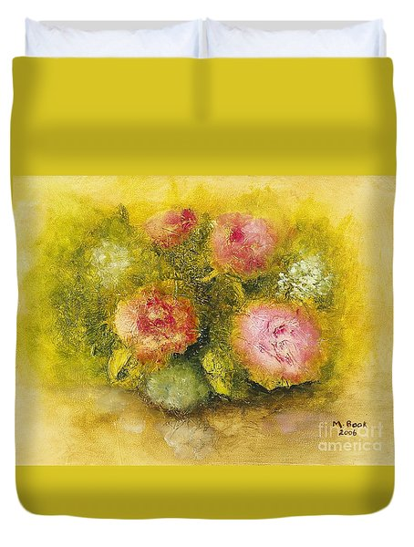 Flowers Pink Duvet Cover by Marlene Book