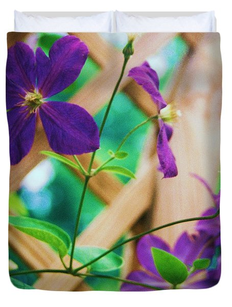 Duvet Cover featuring the painting Flowers Purple by Eric  Schiabor