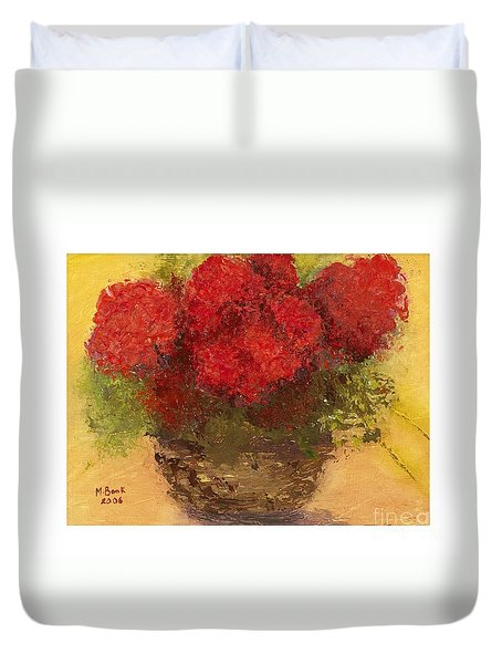 Flowers Red Duvet Cover by Marlene Book