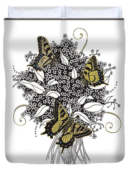 Flowers That Flutter Duvet Cover by Stanza Widen