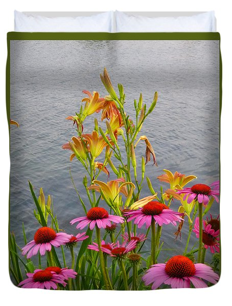 Flowers With Lake Duvet Cover
