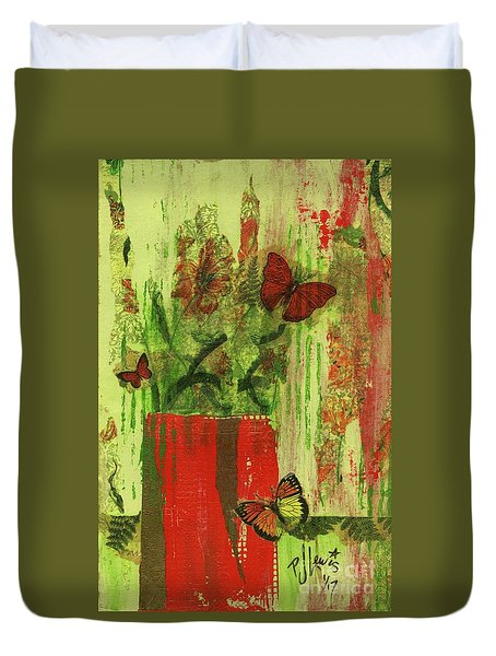 Duvet Cover featuring the mixed media Flowers,butteriflies, And Vase by P J Lewis