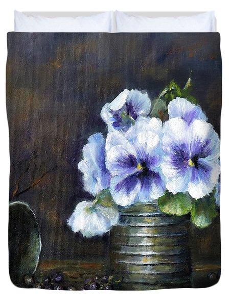 Flowers,pansies Still Life Duvet Cover