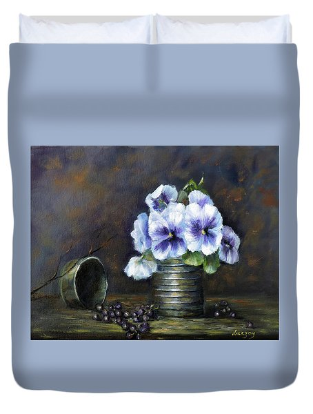 Duvet Cover featuring the painting Flowers,pansies Still Life by Katalin Luczay
