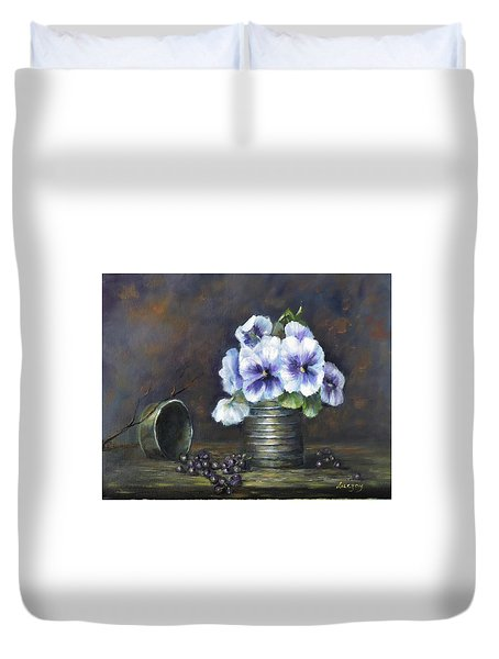 Duvet Cover featuring the painting Flowers,pansies Still Life by Luczay