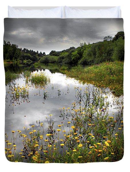 Flowery Lake Duvet Cover by Carlos Caetano