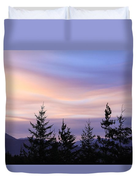 Duvet Cover featuring the photograph Flowing Clouds by Susan Crossman Buscho