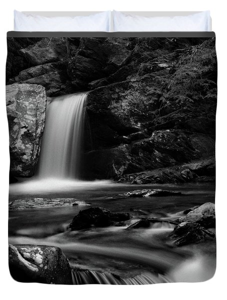 Flowing Water On Bw Film Duvet Cover