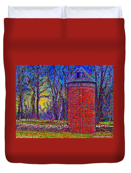 Duvet Cover featuring the painting Floyd,virginia Tower by Hidden Mountain
