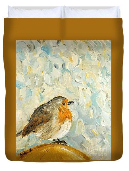 Fluffy Bird In Snow Duvet Cover