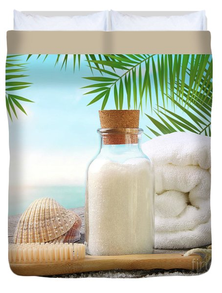 Fluffy Towels With Sea Salt And Seashells On Beach Table Duvet Cover