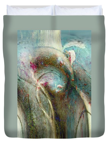 Duvet Cover featuring the digital art Flugufrelsarinn by Linda Sannuti