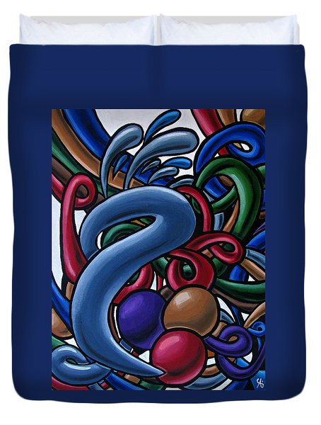 Fluid 1 - Abstract Art Painting - Chromatic Fluid Art Duvet Cover