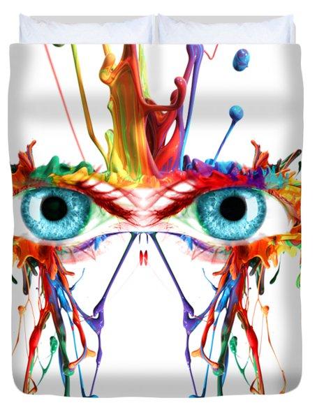 Fluid Abstract Eyes Duvet Cover