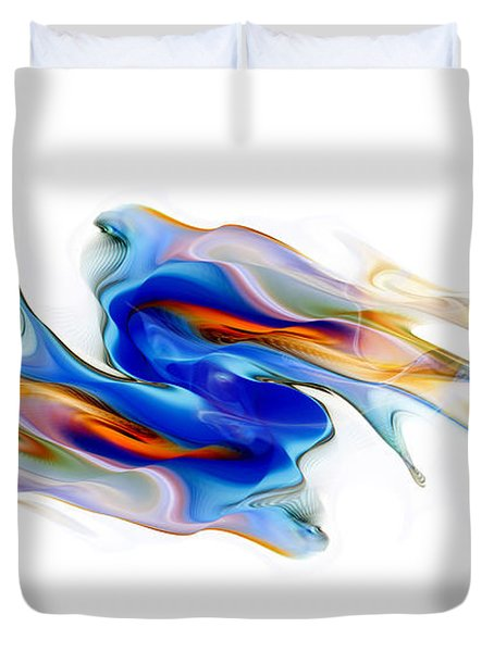 Duvet Cover featuring the digital art Fluid Colors by Fran Riley