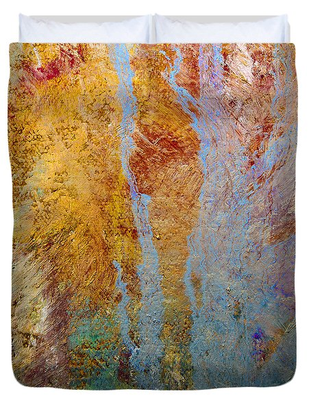 Duvet Cover featuring the mixed media Fluid by Michael Rock