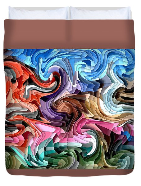 Duvet Cover featuring the digital art Fluidity by Shelli Fitzpatrick