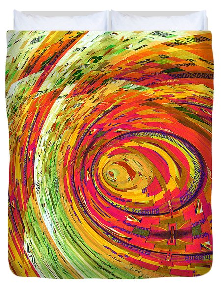 Fluorescent Wormhole Duvet Cover by Shawna Rowe