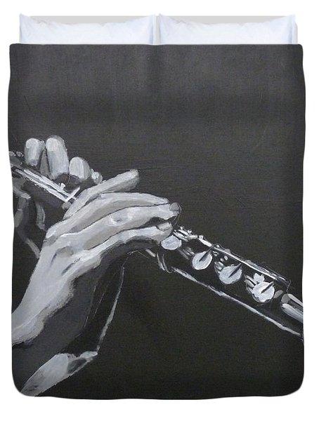 Duvet Cover featuring the painting Flute Hands by Richard Le Page