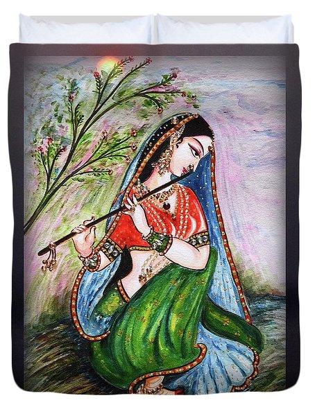 Flute Playing In - Krishna Devotion  Duvet Cover