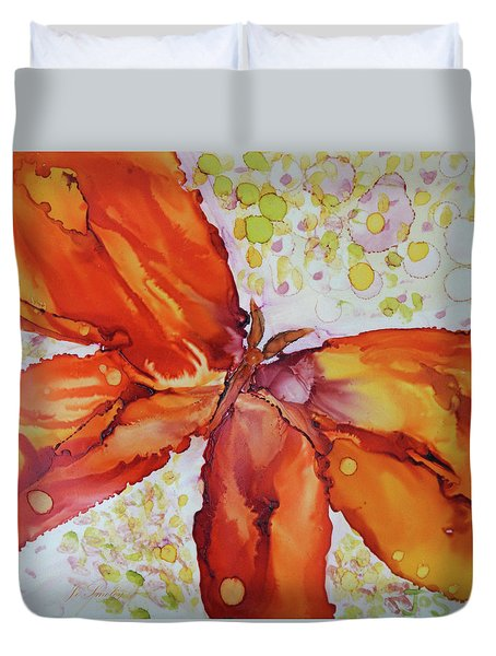 Duvet Cover featuring the painting Flutter by Joanne Smoley