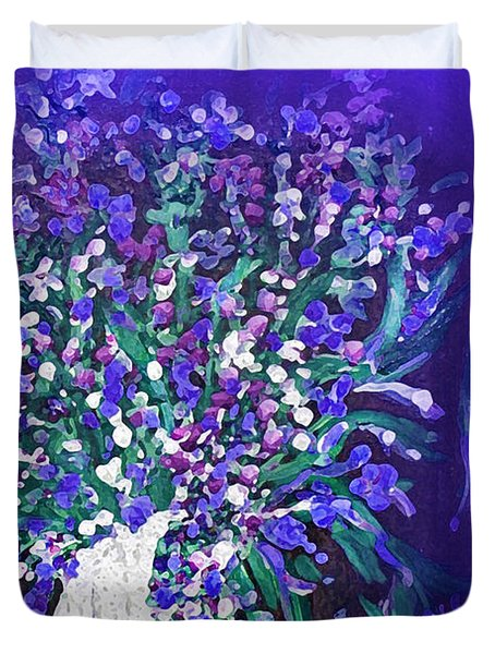 Duvet Cover featuring the painting Flower Art  Spring Flowers In A Vase by Sherri  Of Palm Springs