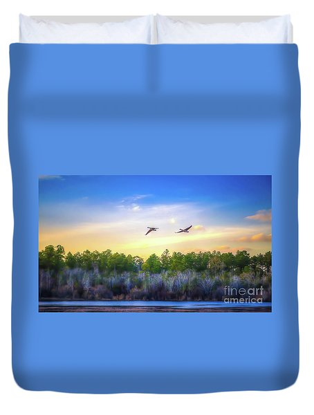 Duvet Cover featuring the photograph Fly Away by Maddalena McDonald