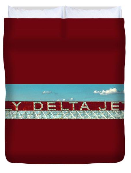 Fly Delta Jets Signage Hartsfield Jackson International Airport Atlanta Georgia Art Duvet Cover