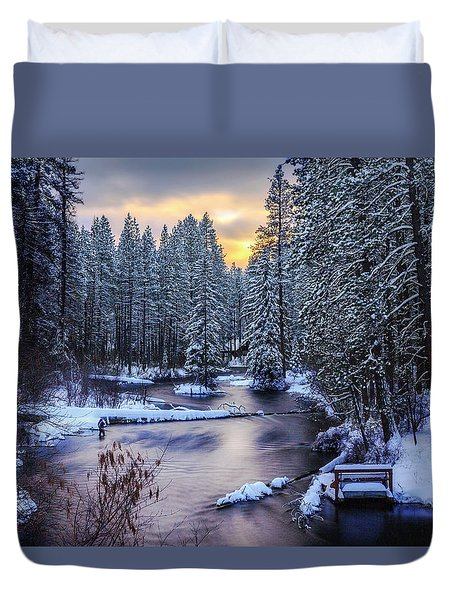 Duvet Cover featuring the photograph Fly Fisherman On The Metolius by Cat Connor