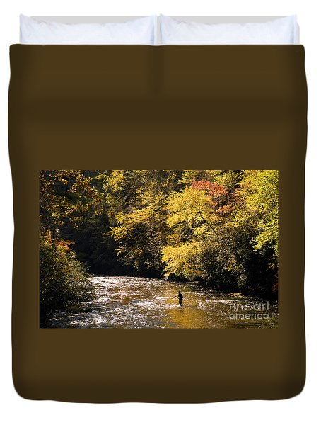 Duvet Cover featuring the photograph Fly Fisherman On The Tellico - D010008 by Daniel Dempster
