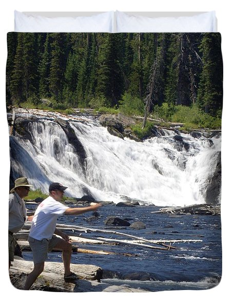 Fly Fishing The Lewis River Duvet Cover by Marty Koch