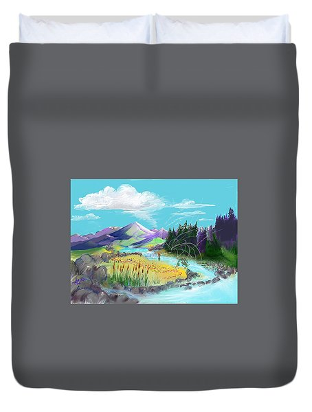 Fly Fishing With Aa Wooly Worm. Duvet Cover