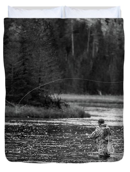 Fly Fishing Yellowstone Wy B W Duvet Cover
