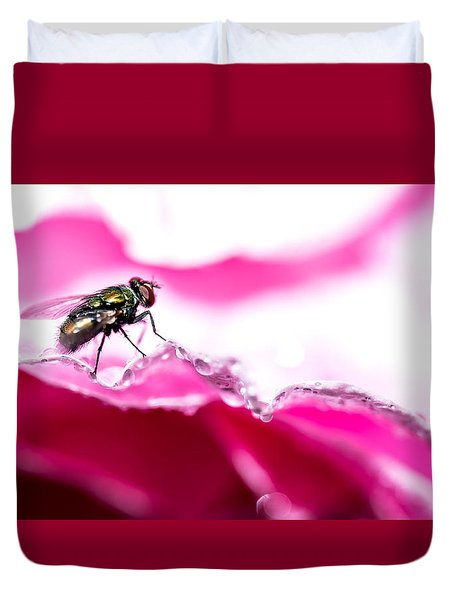 Duvet Cover featuring the photograph Fly Man's Floral Fantasy by T Brian Jones