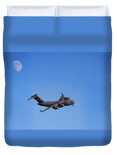 Duvet Cover featuring the photograph Fly Me To The Moon by Tammy Espino