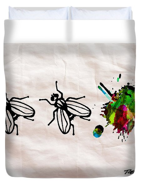 Fly On The Wall Abstract Watercolor Duvet Cover