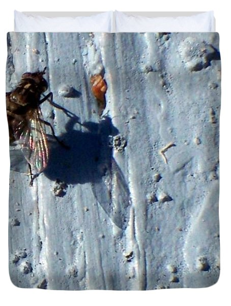 Duvet Cover featuring the photograph Fly On The Wall by Betty Northcutt