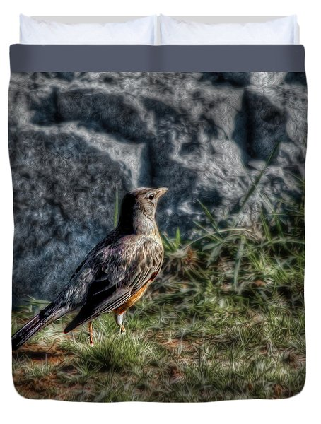 Duvet Cover featuring the photograph Fly Robin Fly by Pennie  McCracken