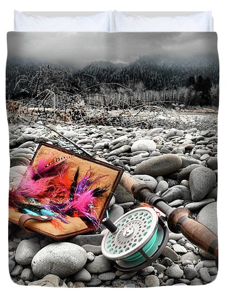 Fly Rod And Streamers Portrait Duvet Cover